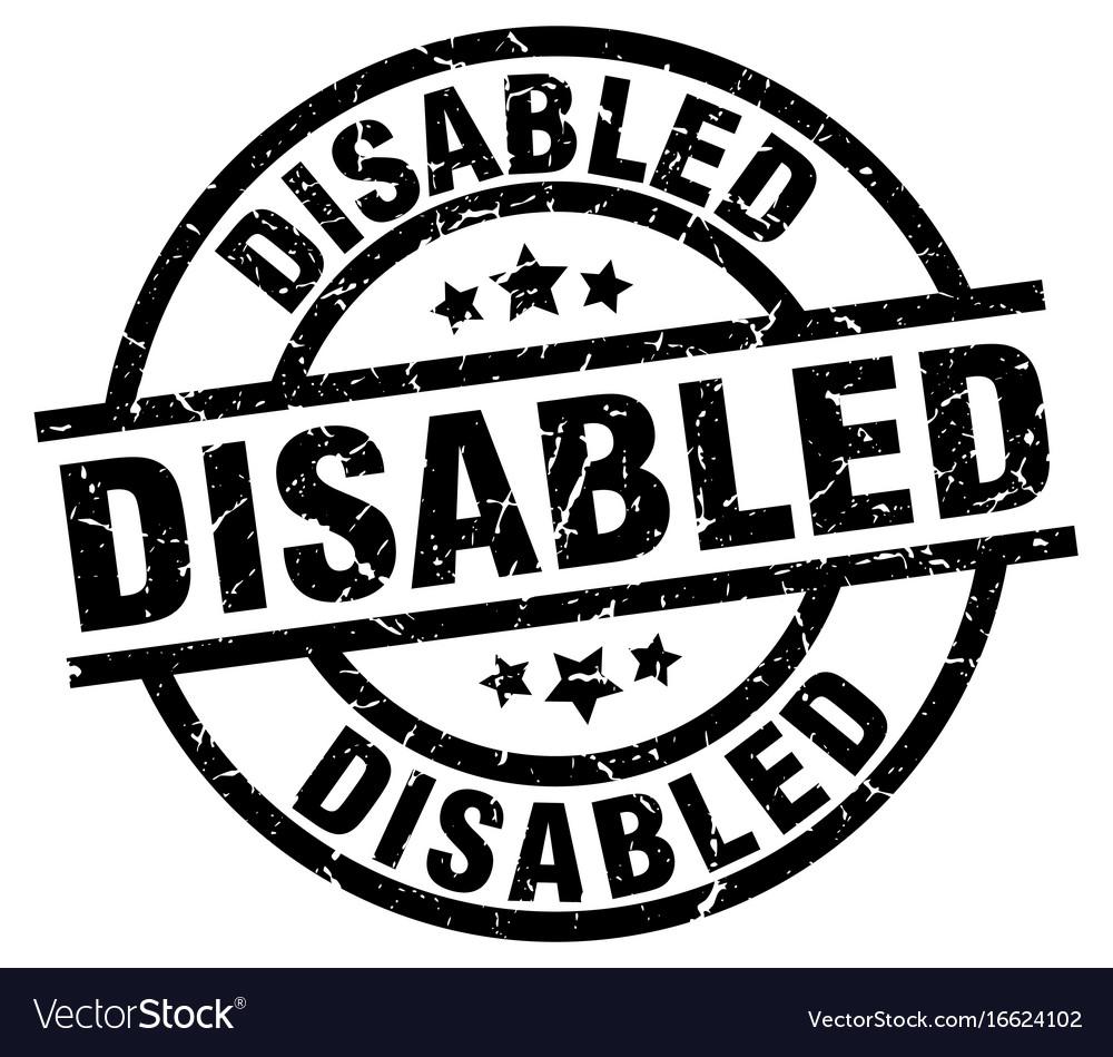 Disabled round grunge black stamp vector image