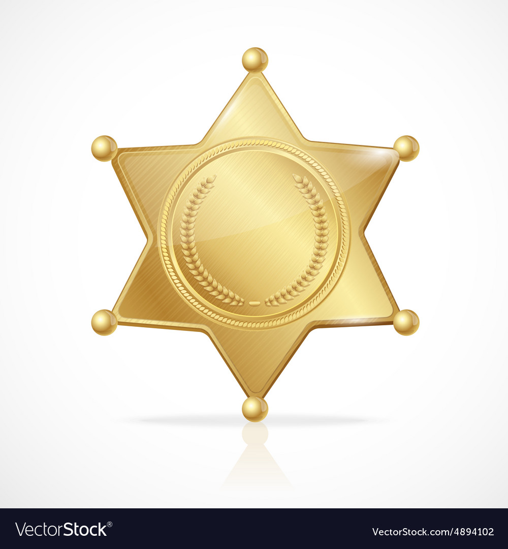 Golden sheriff badge star empty Royalty Free Vector Image