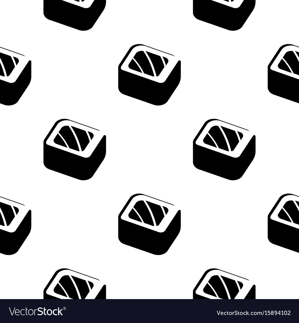Sushi and rolls vintage seamless monochrome vector image