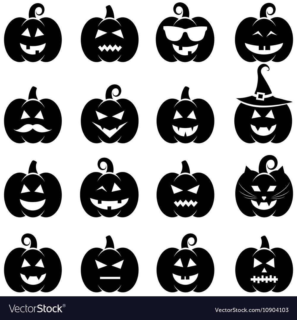 Set of black Halloween pumpkin icons vector image