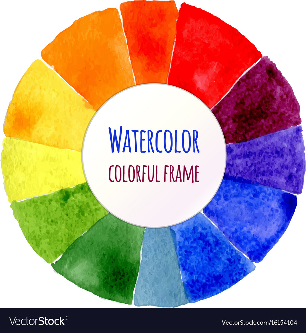 Handmade color wheel isolated watercolor spectrum vector image