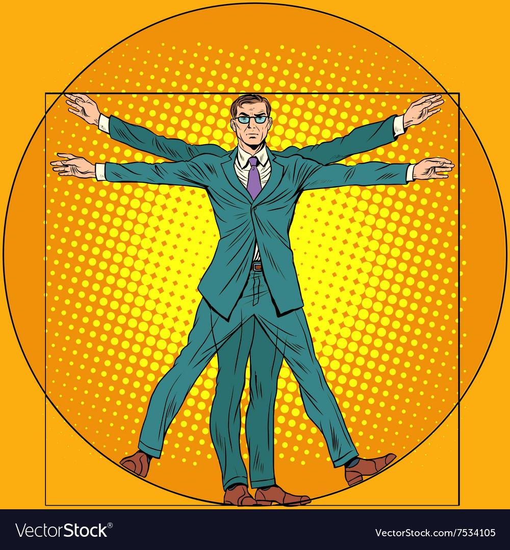 Businessman Vitruvian man vector image