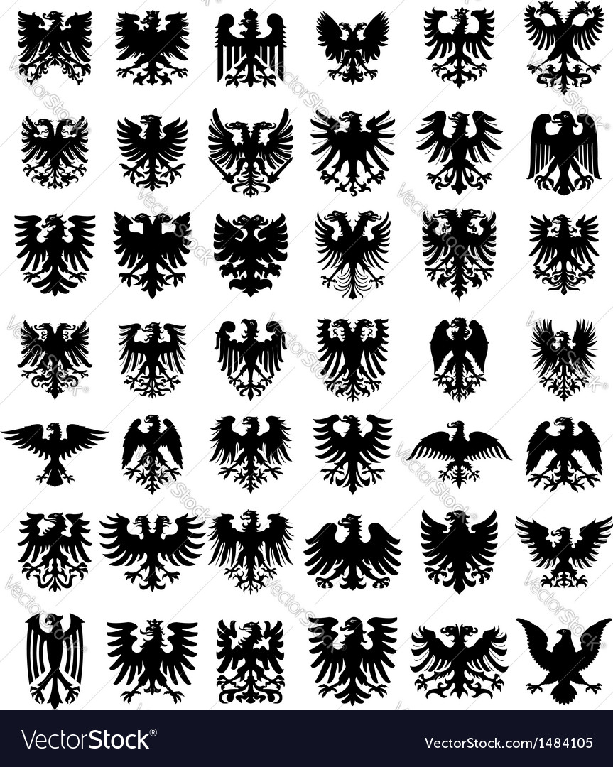 Heraldic eagles silhouettes set vector image