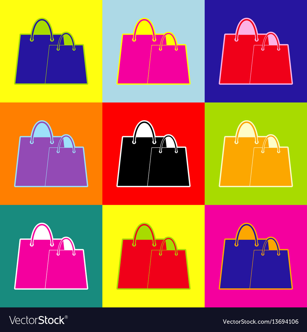 Shopping bags sign pop-art style colorful vector image