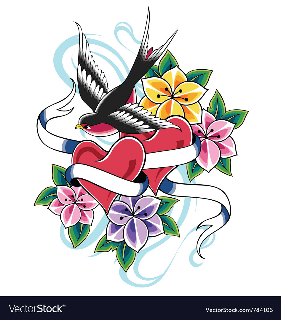Swallow flower tattoo vector image