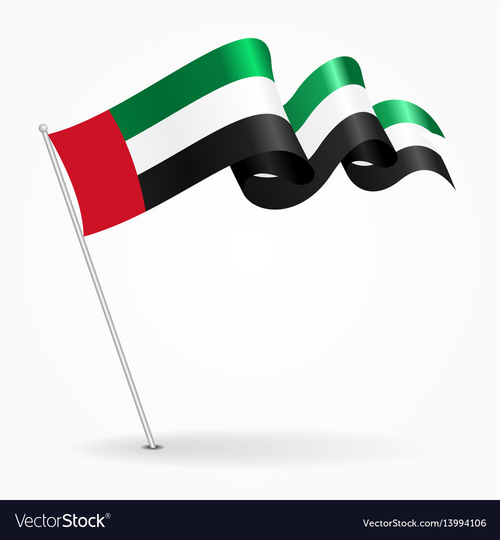 United arab emirates pin wavy flag vector image