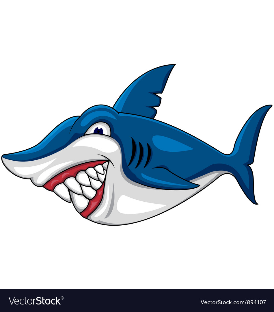 angry shark cartoon royalty free vector image vectorstock