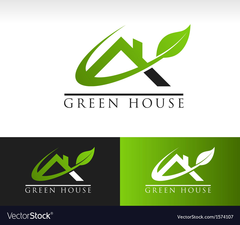 Green House Roof Logo Icon vector image