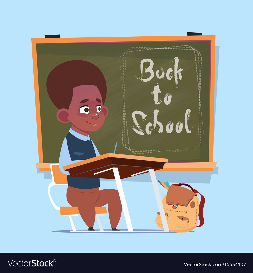 Small african american school boy sit at desk over vector image
