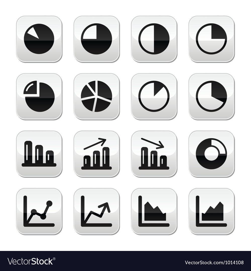 Chart graph black buttons set for infographics vector image