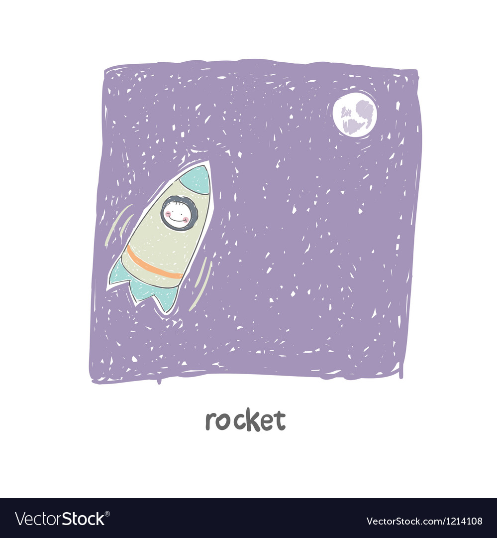 A man flying on a rocket vector image