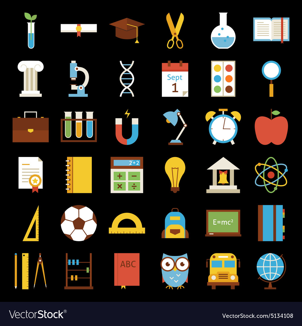 Big Flat Back to School Objects Set over Black vector image