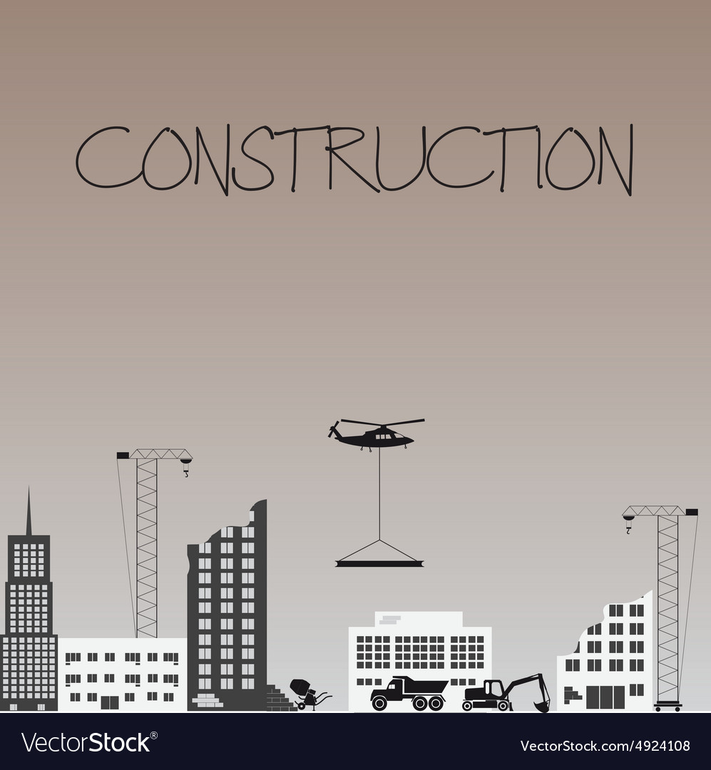 Construction zone industrial design with buldings vector image