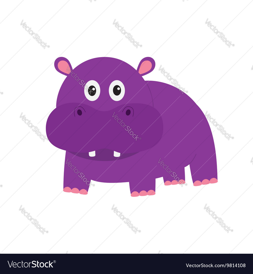 Hippopotamus Cute cartoon charachter hippo with vector image
