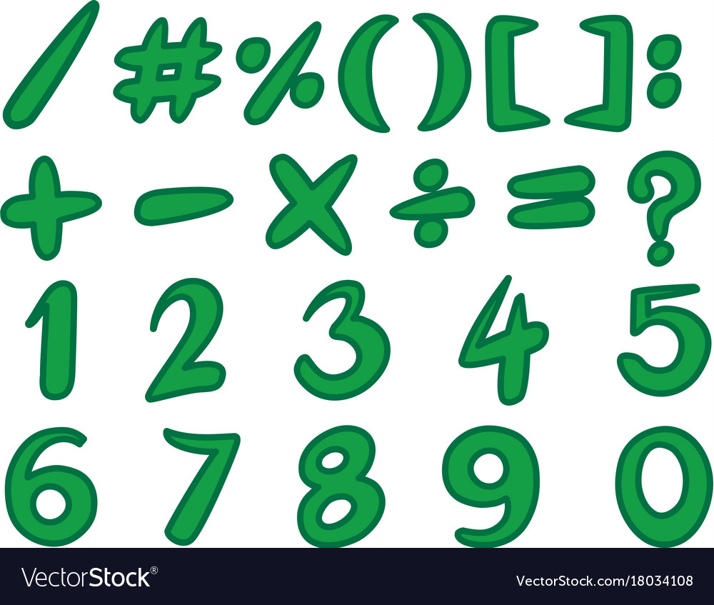 Numbers and simple signs in green color Royalty Free Vector