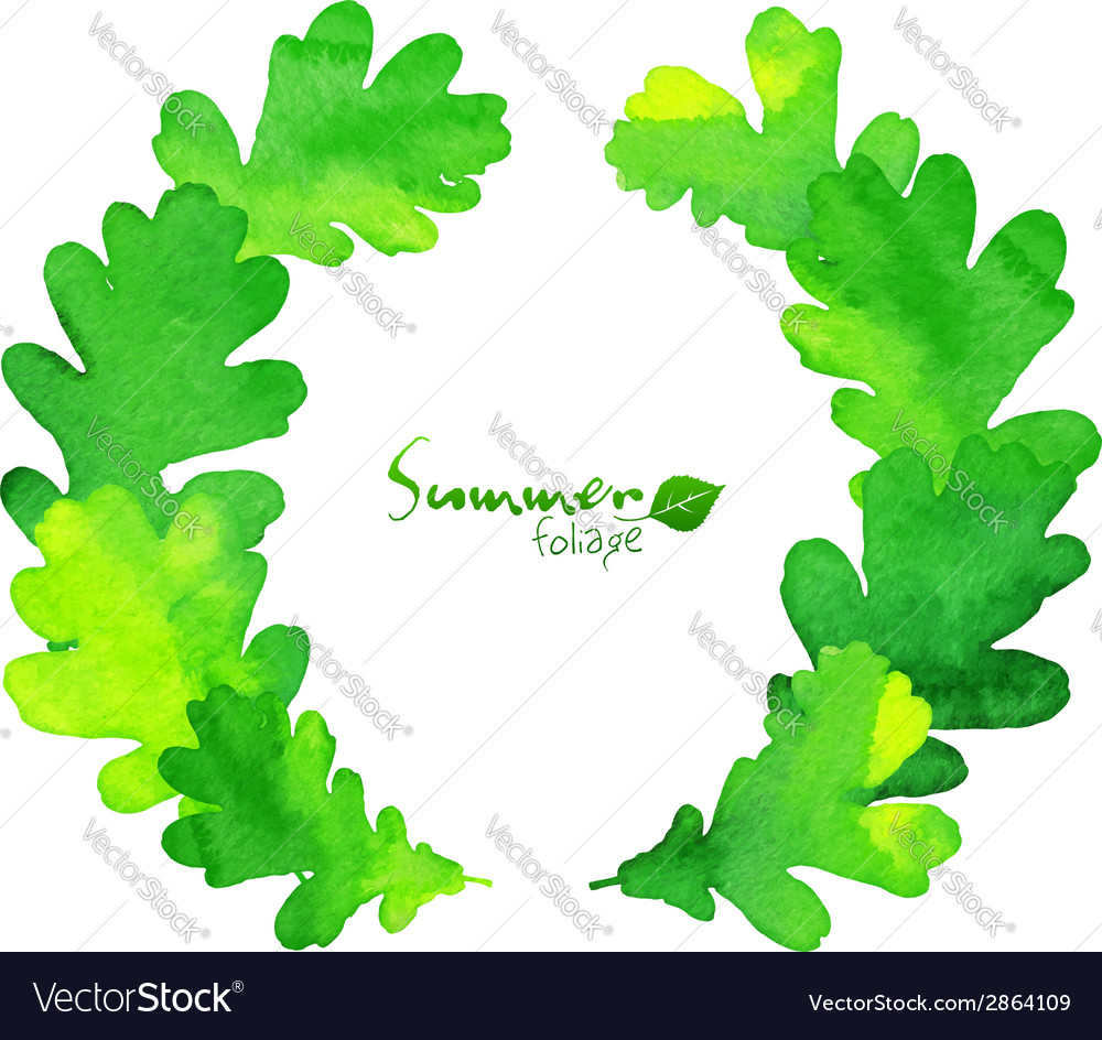 Green watercolor oak leaves wreath vector image