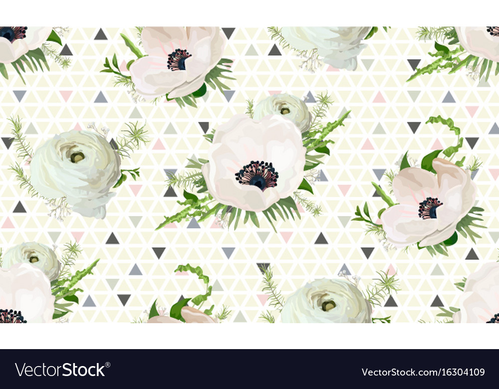 Seamless pattern bouquets of pink anemone white vector image