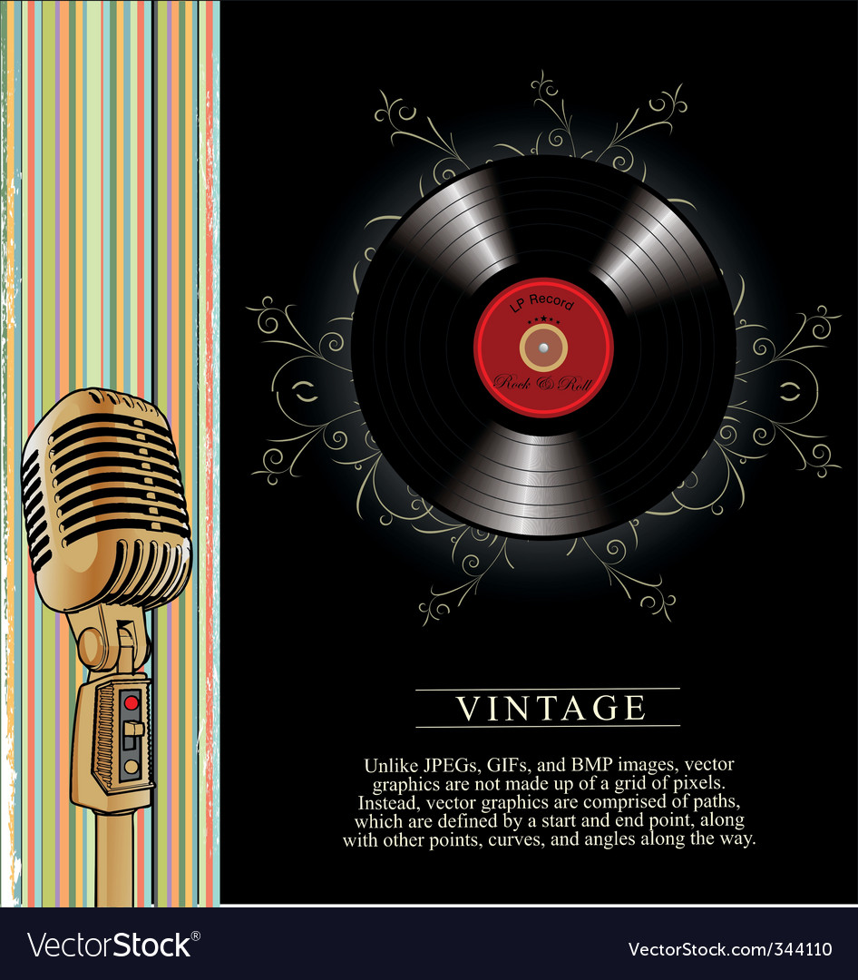 Vintage microphone background vector image