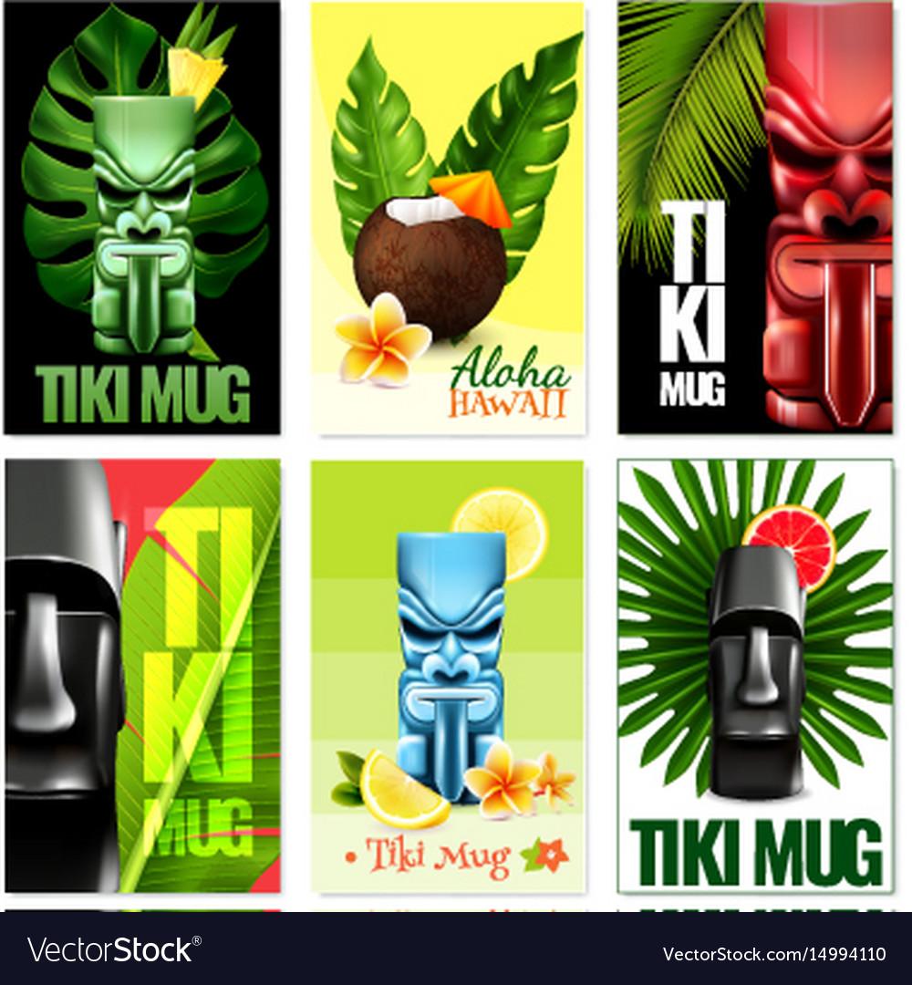 Hawaiian cards set vector image