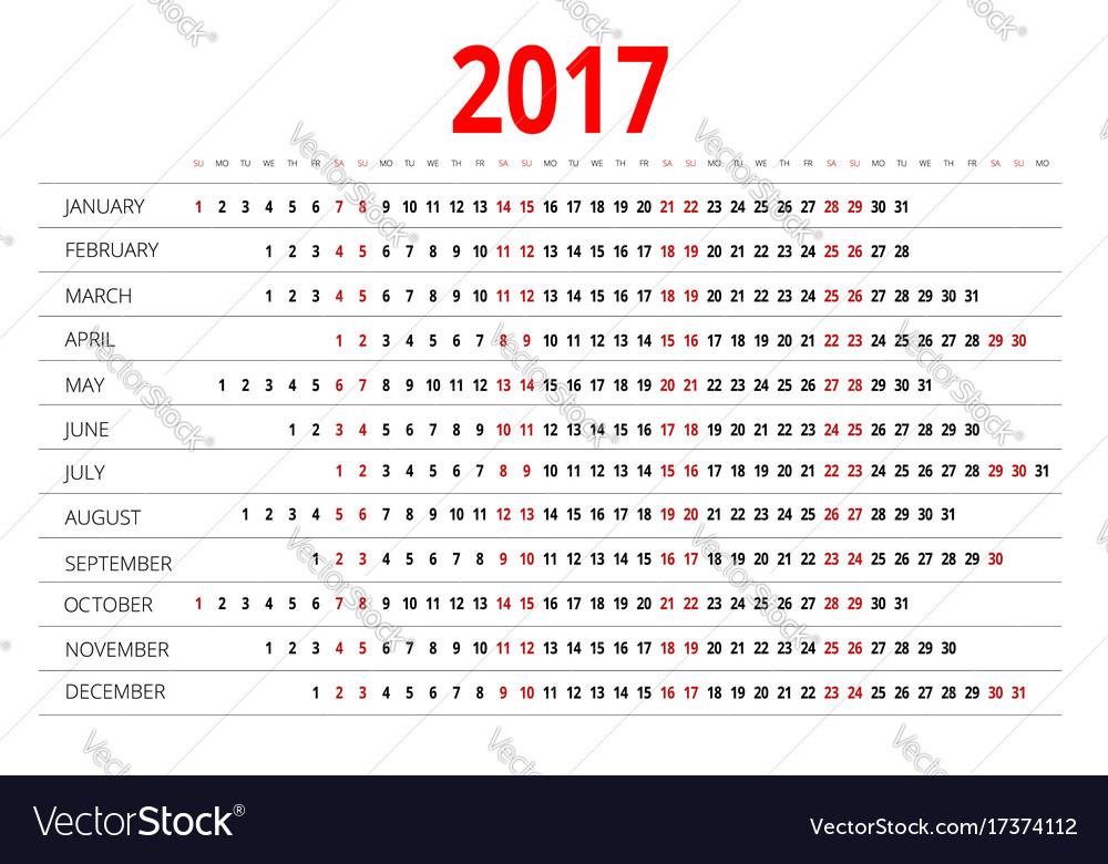 2017 calendar print template week starts sunday vector image