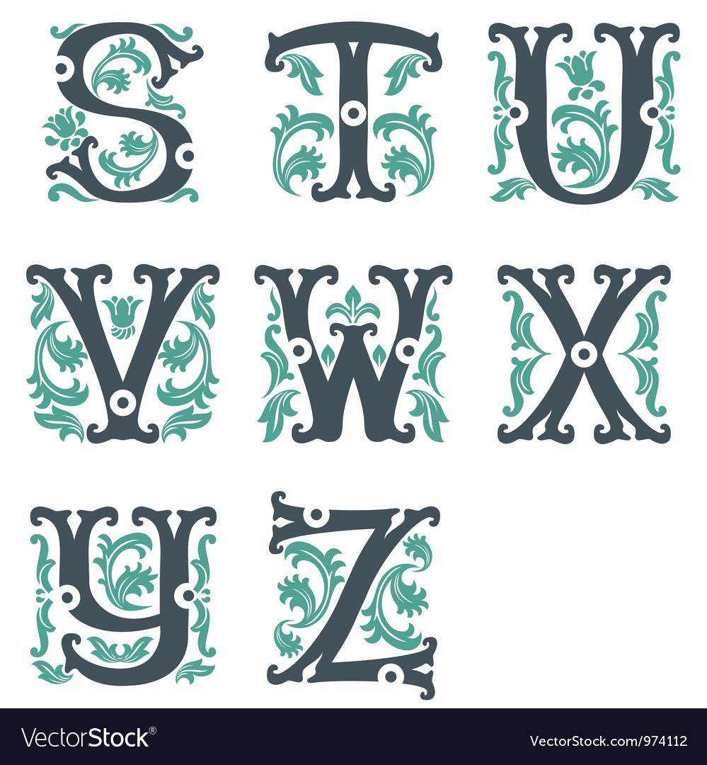 Vintage alphabet Part 3 vector image