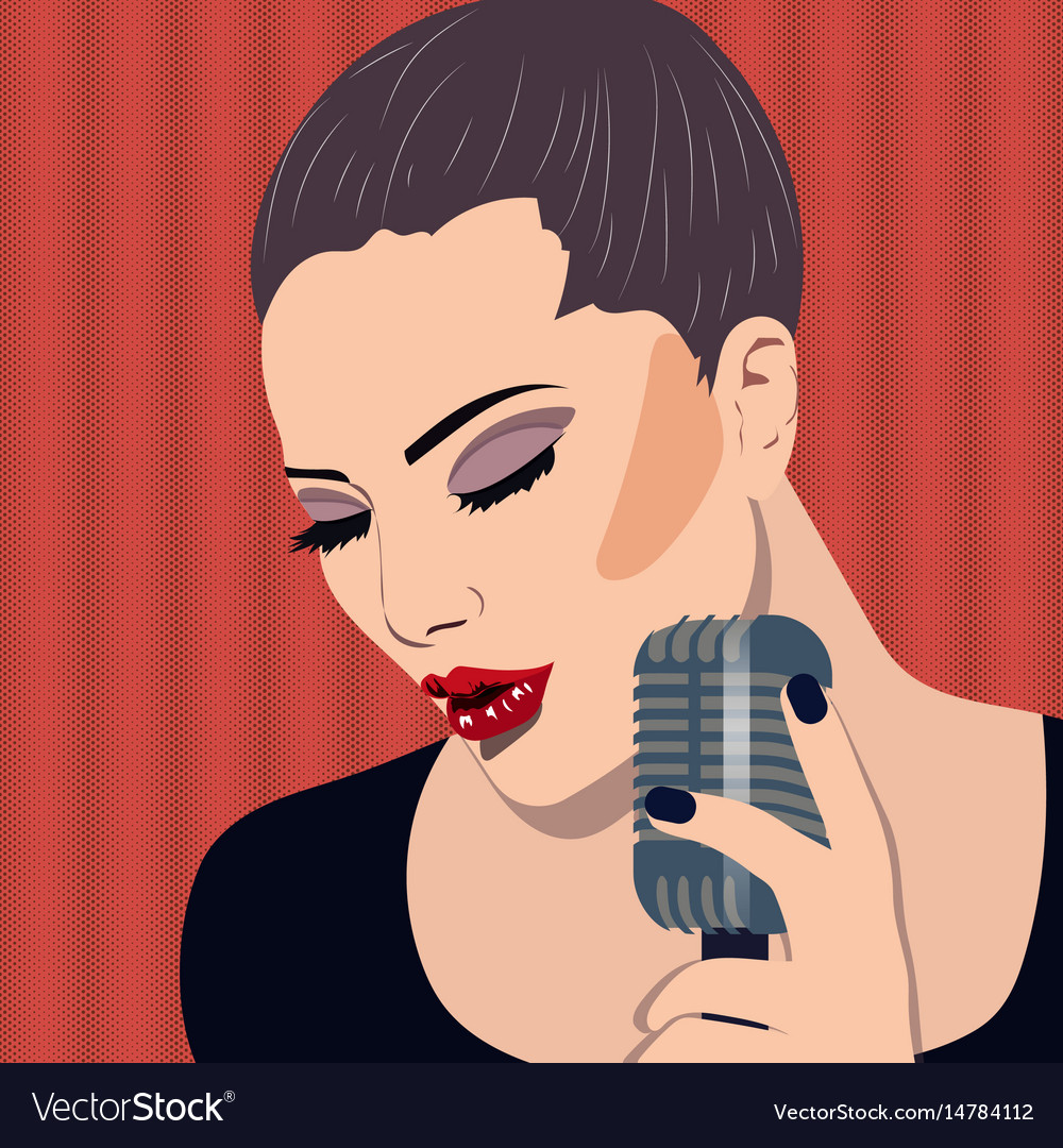 Female karaoke singer with microphone in the hand vector image