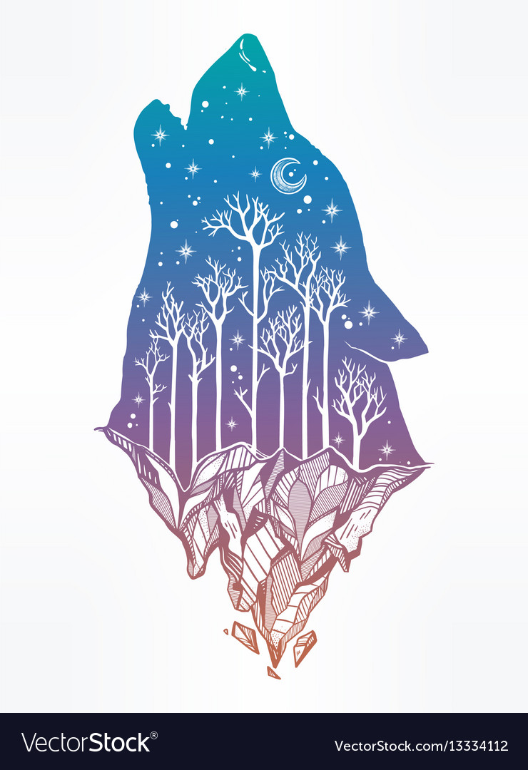 Howling double exposure wolf forest background vector image