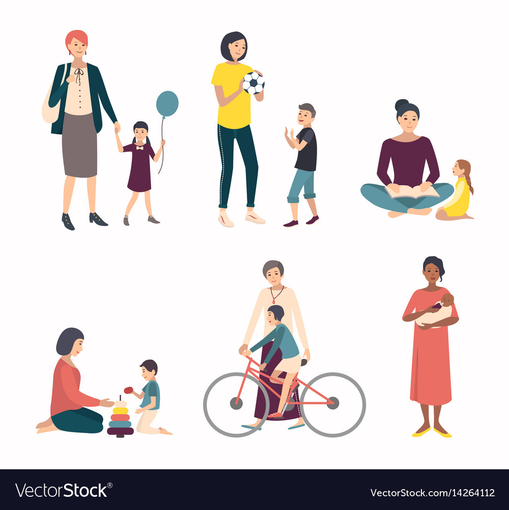 Mothers with children baby set with various vector image