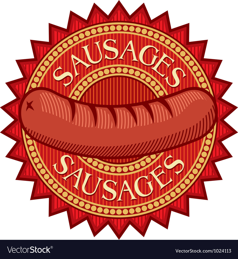 Sausages label vector image
