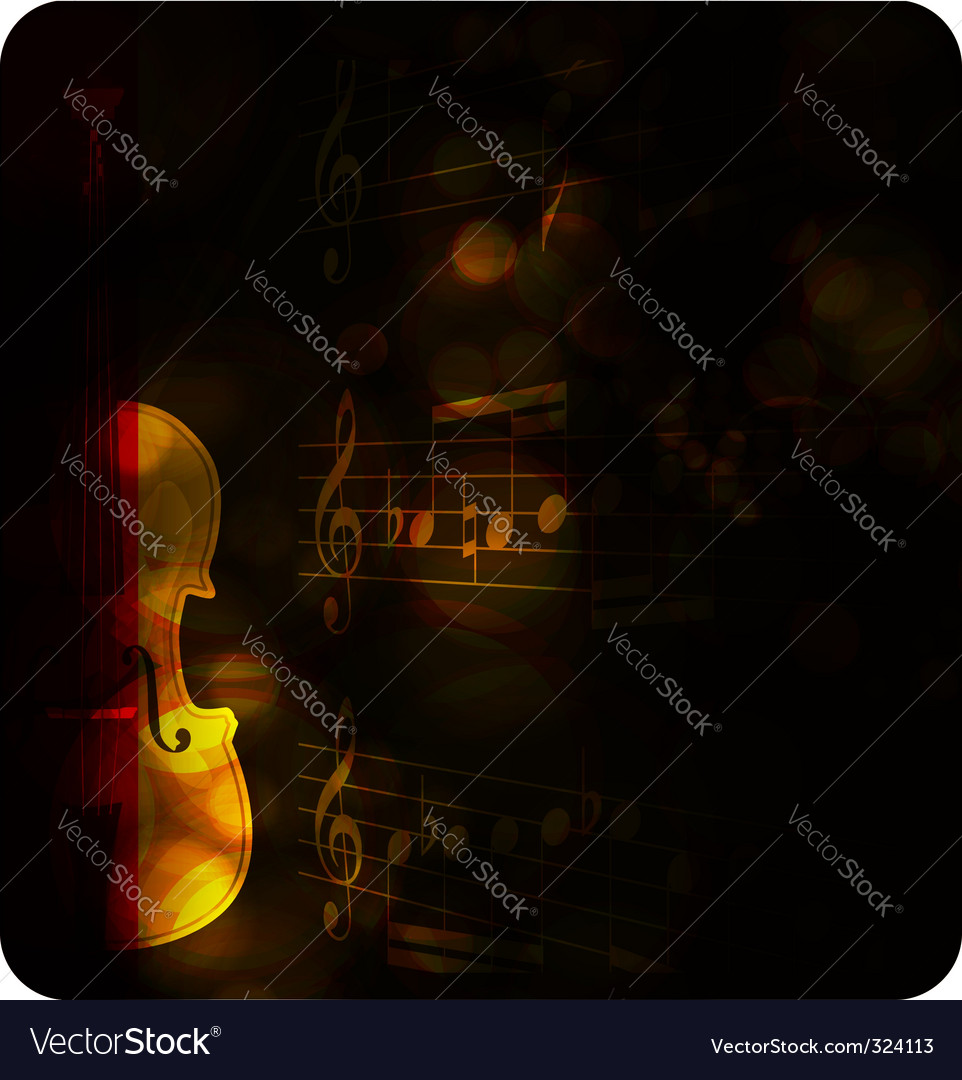 Vintage violin silhouette with note vector image