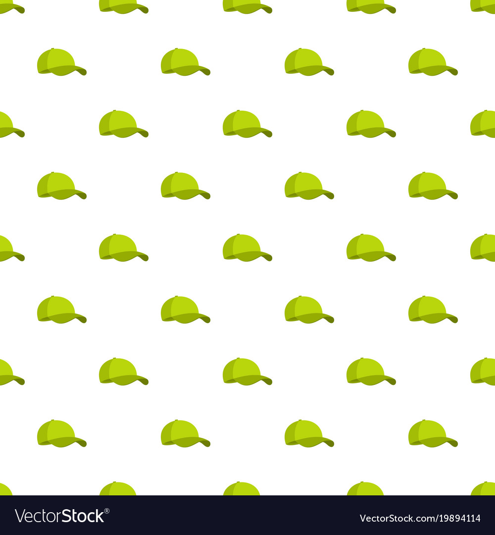 Green baseball cap pattern seamless vector image