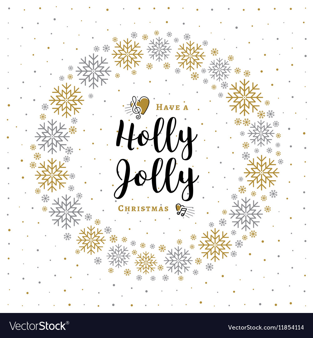 Holly Jolly Christmas card Minimalist style vector image