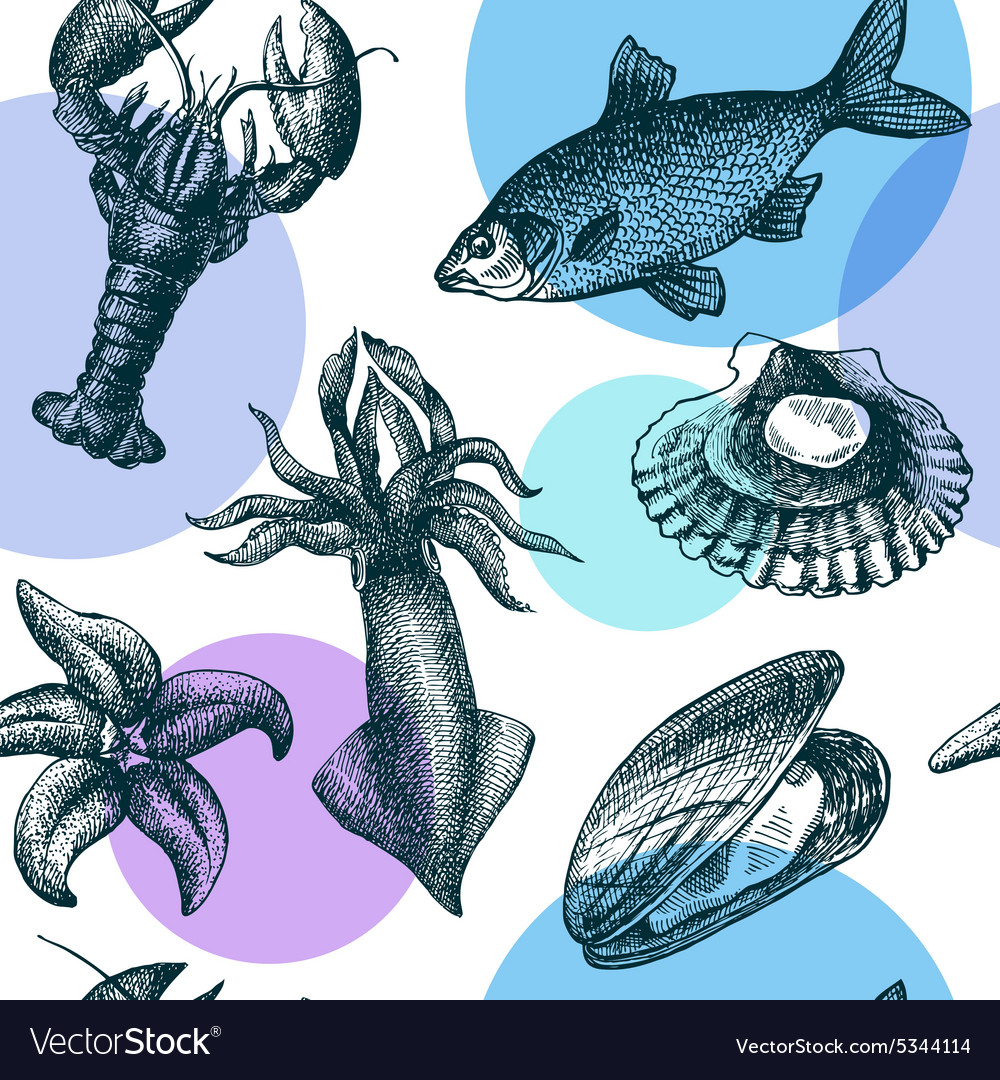 Seafood seamless pattern vector image