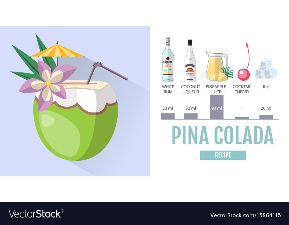 Pina Design flat style cocktail pina colada menu design vector image