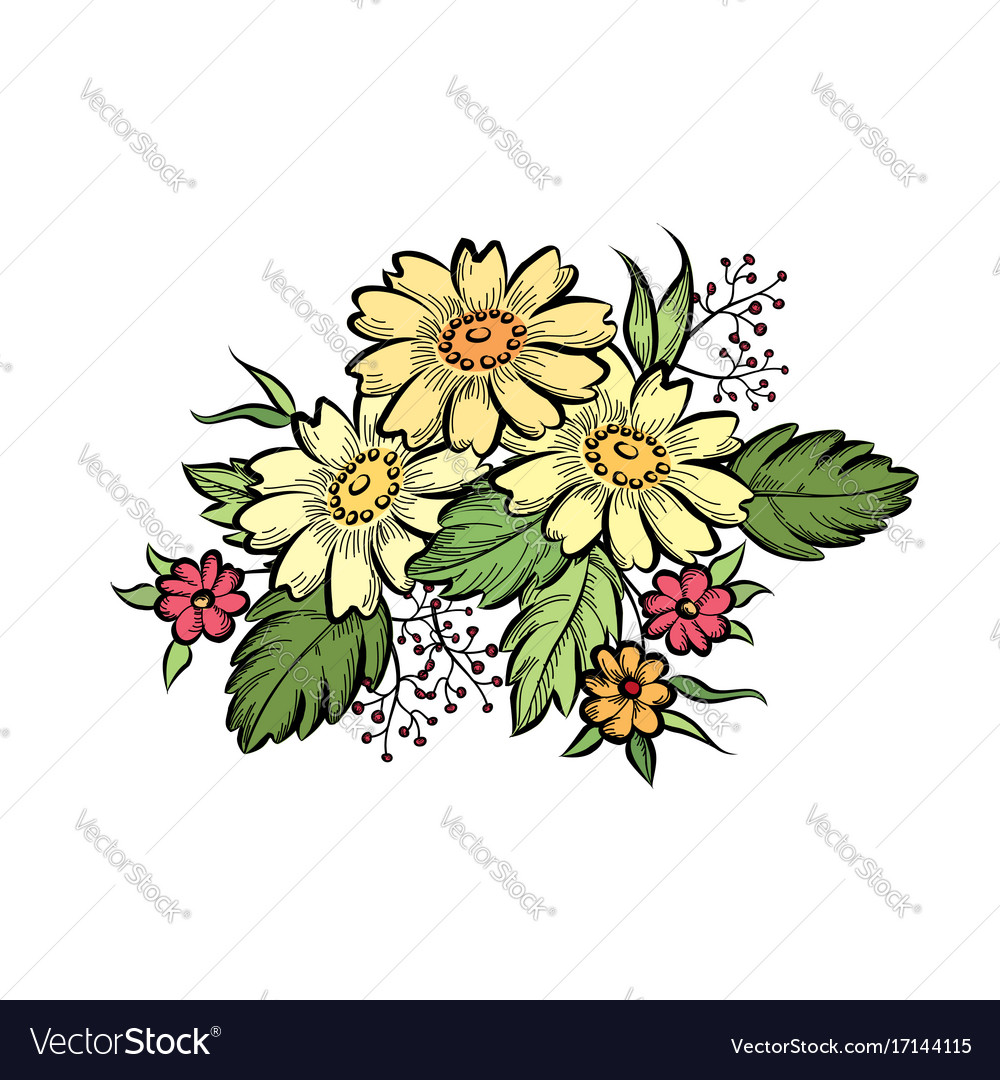 Flower bouquet floral frame flourish greeting vector image