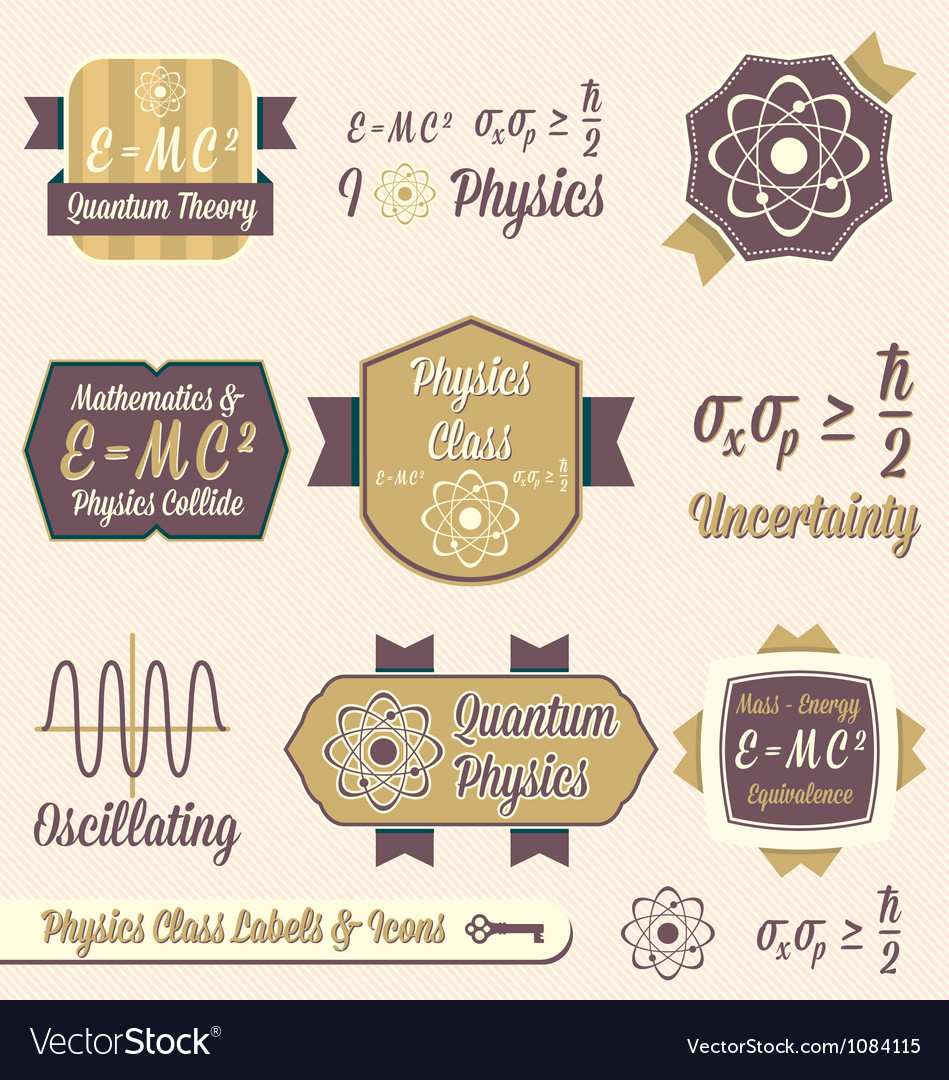 Vintage Physics Class Labels and Icons vector image