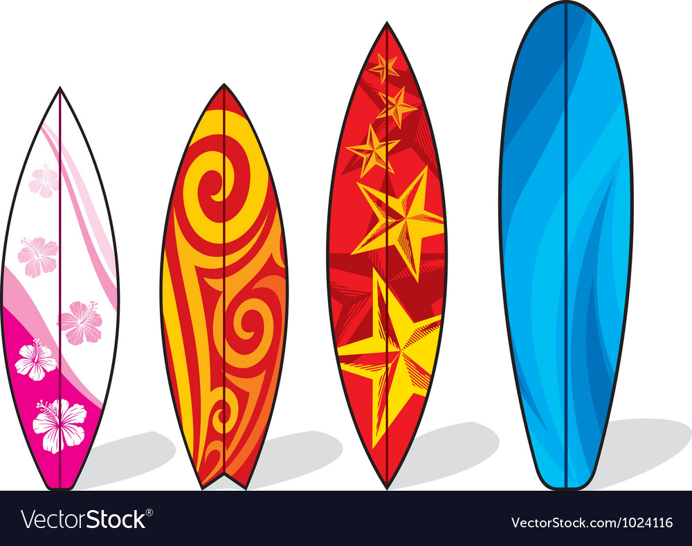 Set of surfboards vector image