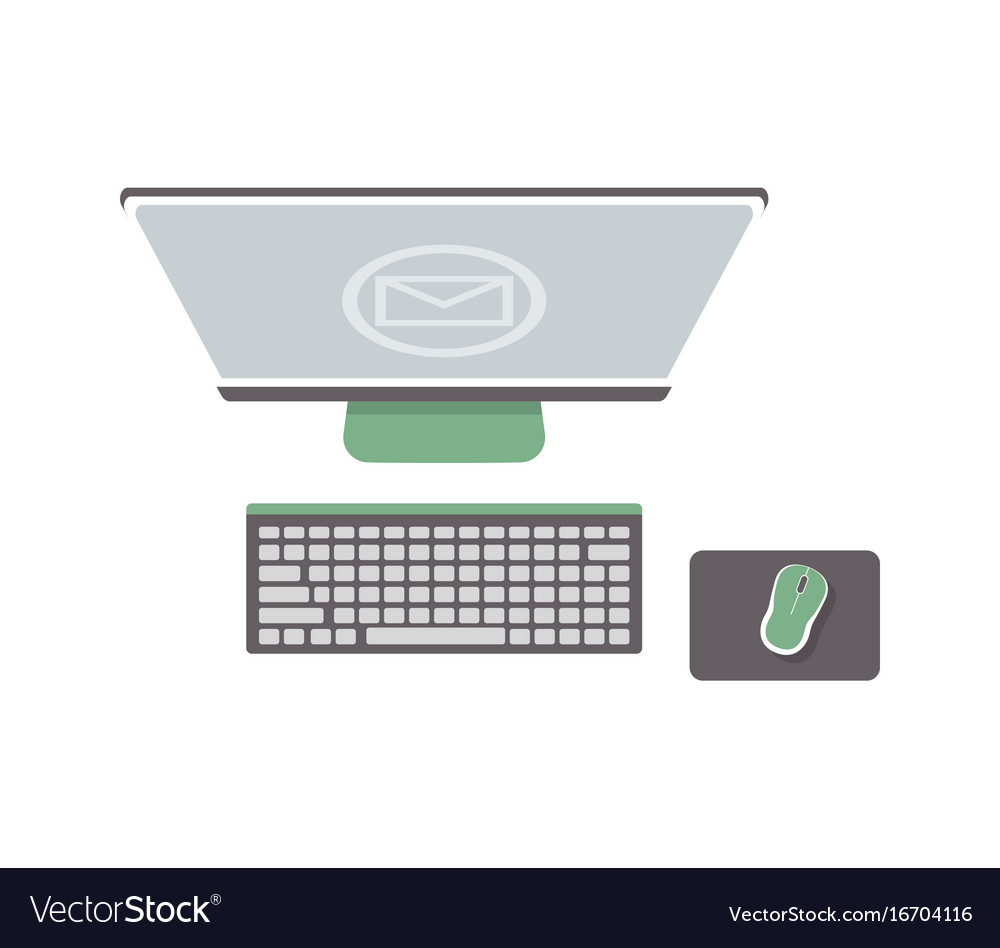 Desktop computer isolated icon in flat design vector image