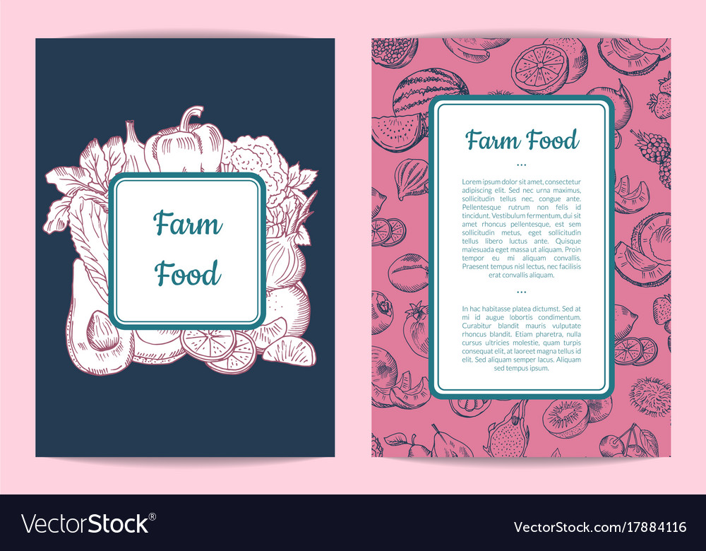 Doodle handdrawn fruits vegetables vegan vector image