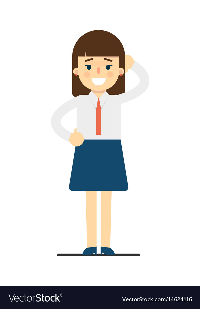Happy young woman with hand behind head gesture vector image