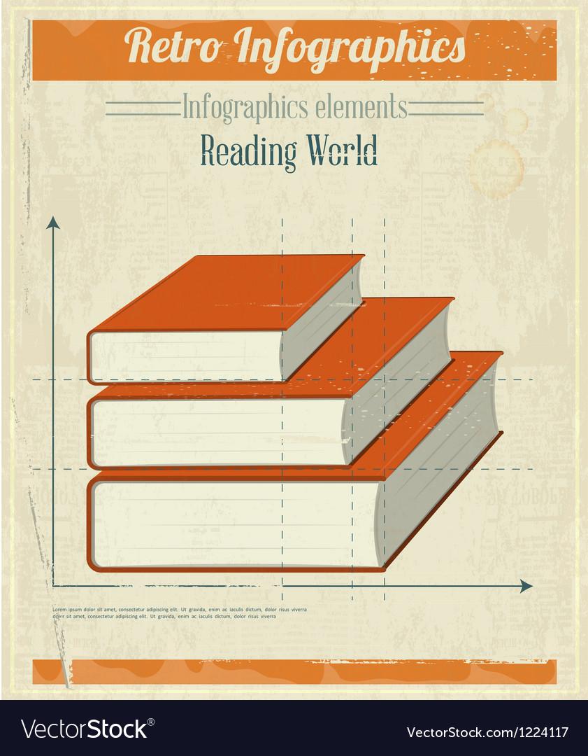 Vintage Retro Infographics Books vector image