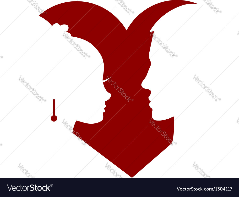 Silhouettes of loving couple vector image
