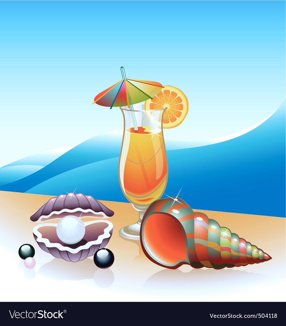 Beach cocktail vector image