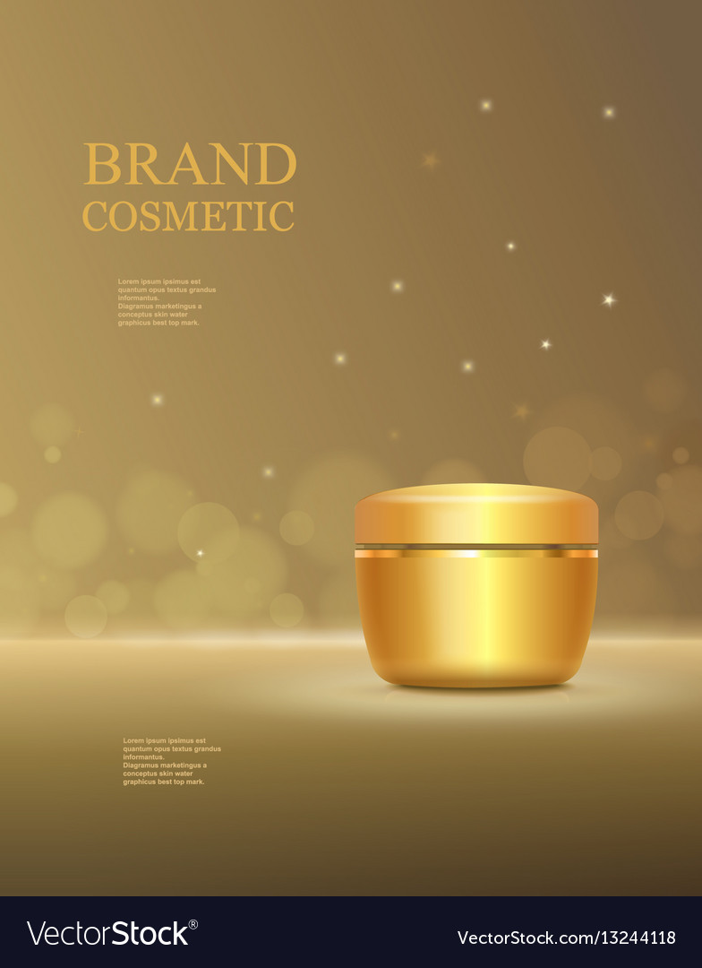 Cosmetic product poster golden bottle package vector image