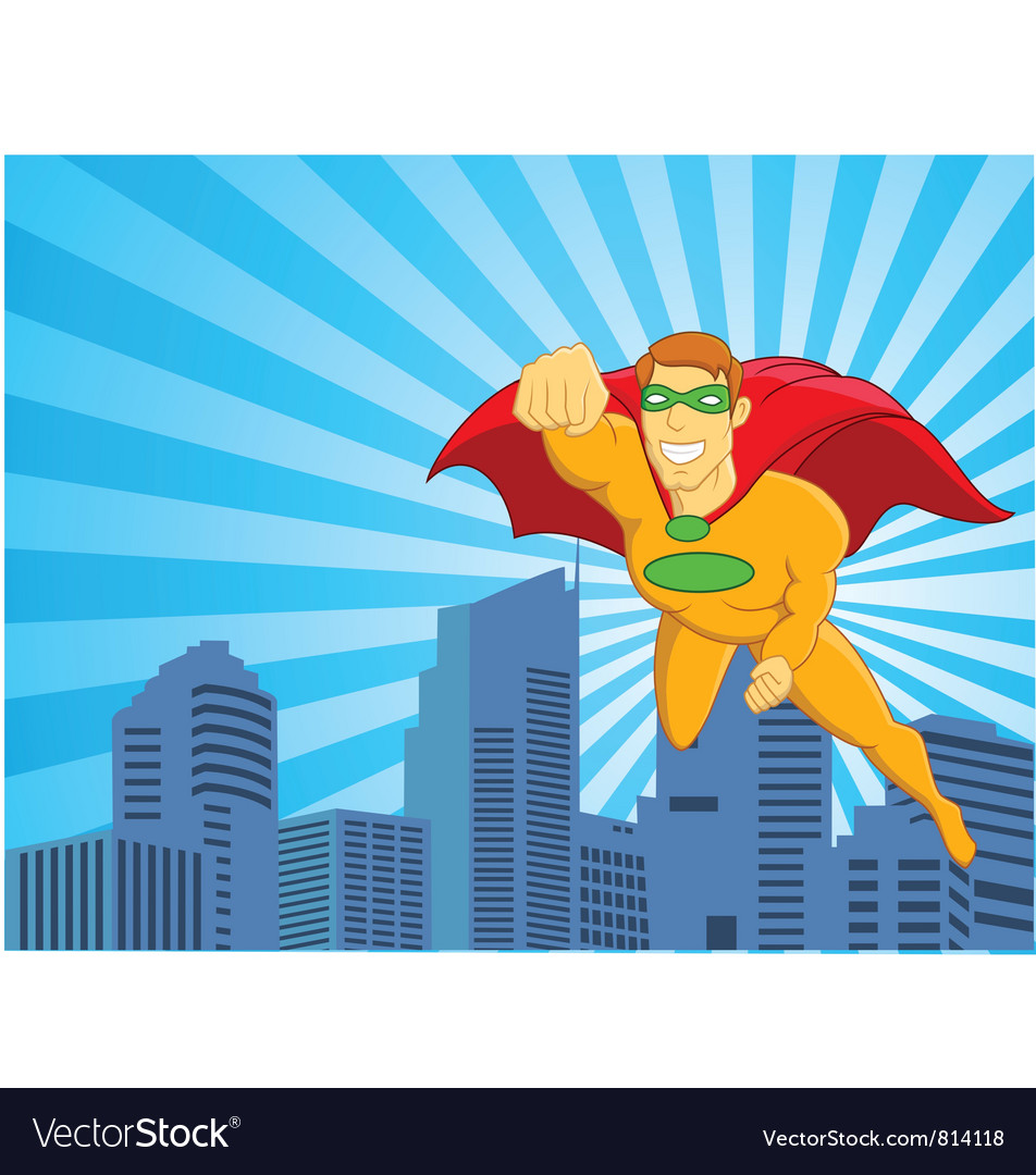 Superhero flying over city vector image
