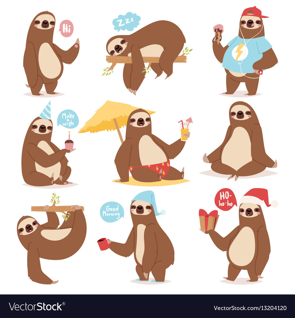 Laziness sloth animal character different pose vector image