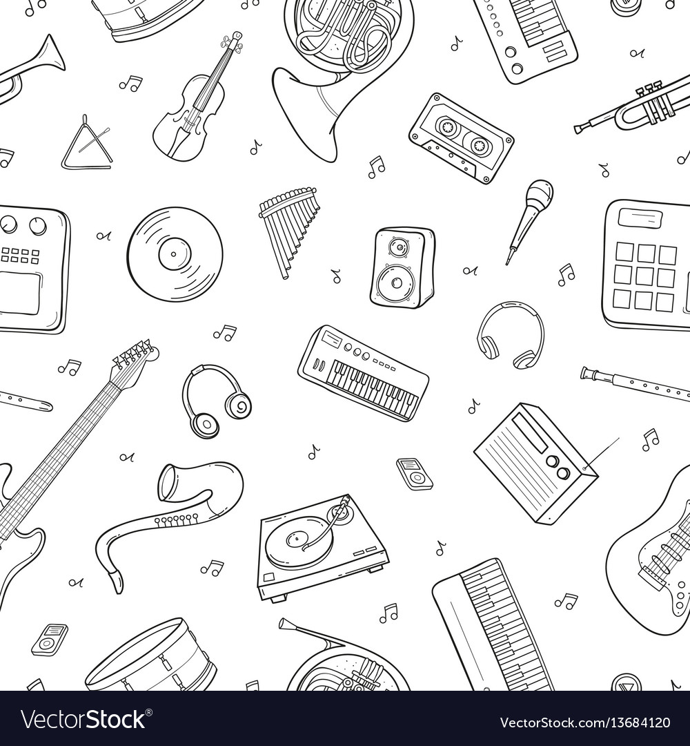 Seamless pattern with various musical instruments vector image