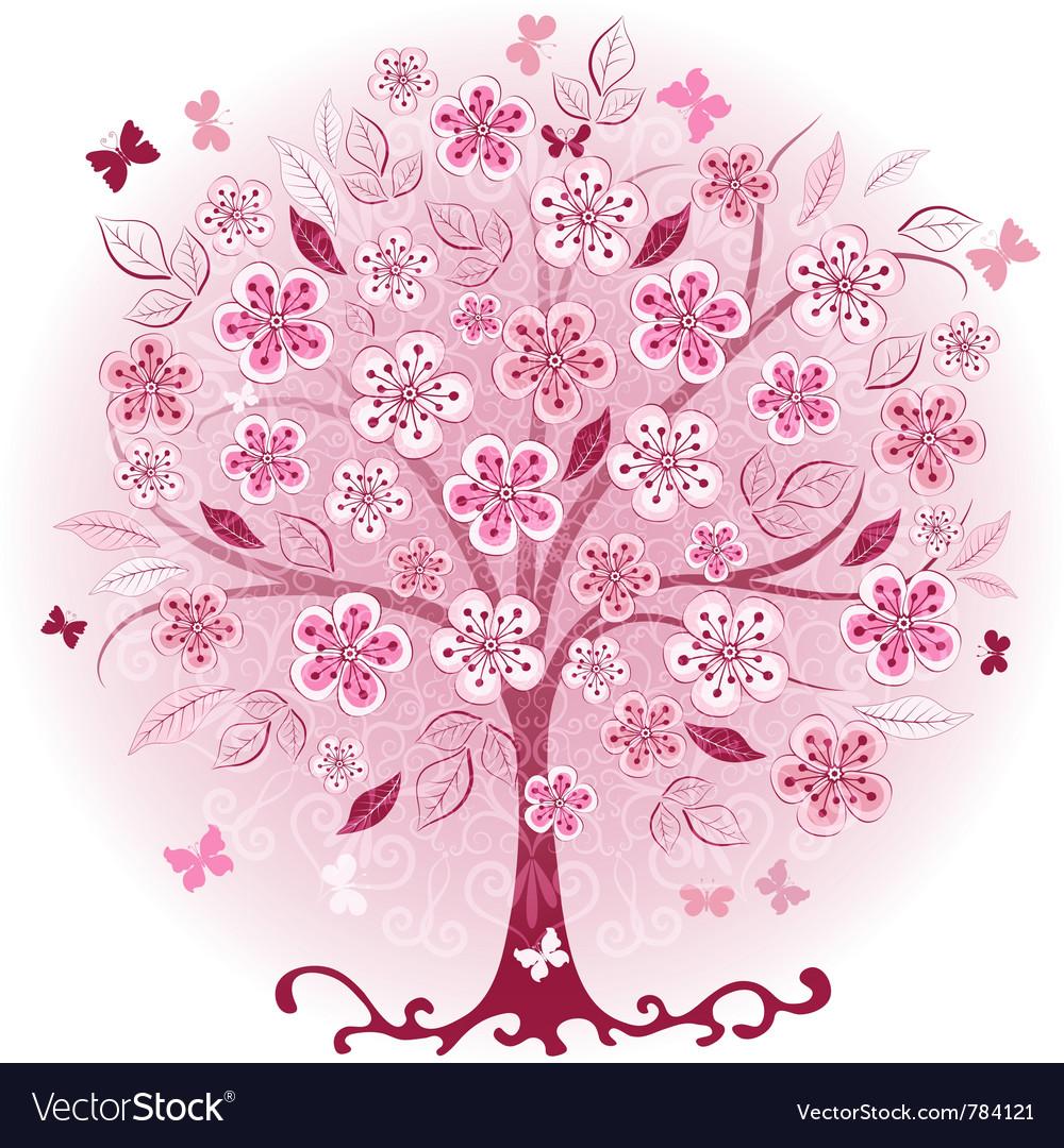 Decorative pink spring tree vector image