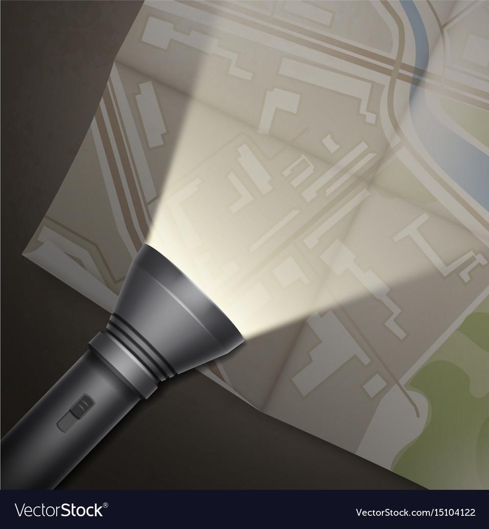 Turned on flashlight vector image
