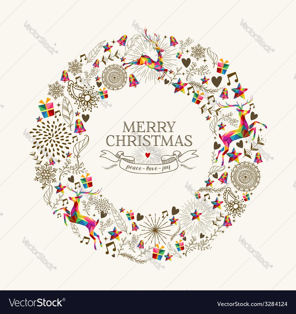 vintage christmas wreath greeting card royalty free vector